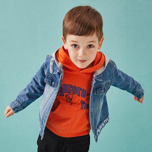 Balabala cotton jeans jacket for boys jacket for boy spring-autumn pattern on the back Hooded jacket clothes for boys enfant 2