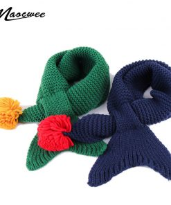 Children Winter Warm Knitted Scarves Baby Boys Girls Solid Color Ski Scarf Neck Warm Soft Knitting Child Mermaid Scarf Bufandas