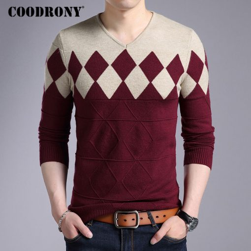 COODRONY Cashmere Wool Sweater Men 2018 Autumn Winter Slim Fit Pullovers Men Argyle Pattern V-Neck Pull Homme Christmas Sweaters 3