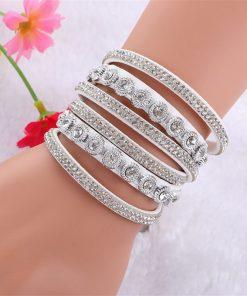DIEZI Pulseira Feminina Bracelets & bangles Women Multilayer Rhinestone Leather Bracelet Crystal Braclet 2016 Fashion Jewelry 1