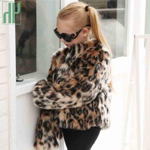 Children's clothing girl Faux Fur Coat Kids Baby Girls Leopard Autumn Winter Jacket Thick Warm Outwear Clothes windbreaker 4