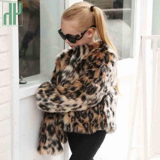 Children's clothing girl Faux Fur Coat Kids Baby Girls Leopard Autumn Winter Jacket Thick Warm Outwear Clothes windbreaker 1