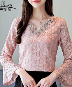 pink V-neck blouse women long sleeve fashion women blouses 2018 lace blouse shirt women tops blusa feminina shirt women 0909 40 1