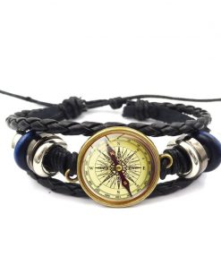 DIEZI Handmade Retro compass Black Bracelet For Men Women Weave Glass Leather Fashion Rope Bracelets & Bangles Jewelry 1