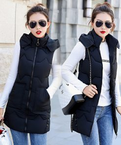 Autumn Winter Women Vest 2018 Cotton Stand Collar Detachable Hooded Sleeveless Jacket Vest Women Fashion Warm Waistcoat Z5722 1