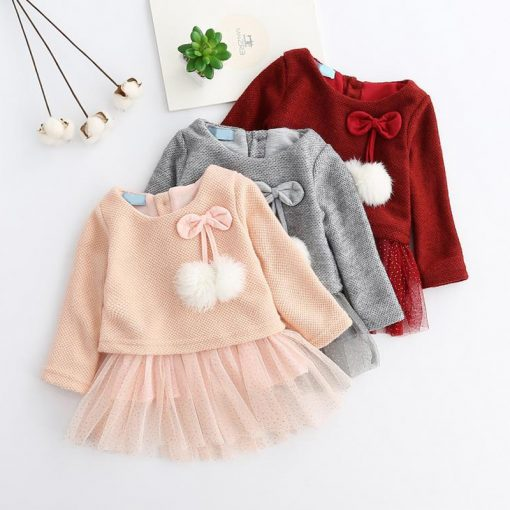 Baby girl dress Knitting Princess Dress spring winter Party for Toddler Girl christening dress Clothing Long sleeve Kids Clothes 2