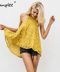 Simplee Halter backless lace top female Causal cami strapless floral camisole tank top 2017 autumn elegant blouse top women