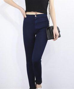 VISNXGI Slim Jeans Fashion High Waist Women Jeans Stretch Skinny Jeans Female Calca Slim Pencil Pants Black Denim Ladies Pockets