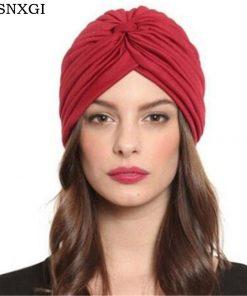 VISNXGI 2018 New Fashion Skullies Women 21 Soild Color Beanies Black White Red Beige Green Indian Turban Caps For Ladies Hats