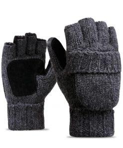 VISNXGI Work Thick Male Fingerless Gloves Men Women Wool Winter Warm Exposed Finger Mittens Knitted Warm Flip Half Finger Gloves 1