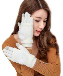 VISNXGI New Women Wool Gloves Dark Gray 3 Ways Use Rabbit Fur Thicken Winter Pompon Gloves Touched Female Warm Mittens 9 Colors 1