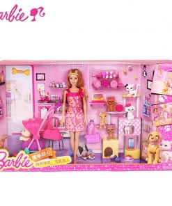 Barbie Original Brand Girl And Pet Dog Shopping Barbie Dolls Set For Little Girl Christmas Day's Gift Boneca BCF82 1