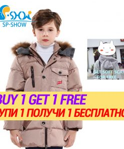 BUY 1 COAT GET 1 FREE SCARF -30 degrees SP-SHOW Winter 90% White down coats nature fur hat Down and Parkas For 3-7 Age  85025 1