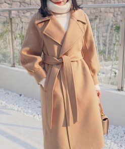 Autumn And Winter 2018 Fashion Solid Wool Coat And Long Sleeve Long Woolen Coat Female Outerwear casaco feminino Z5448