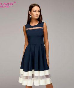 S.FLAVOR 2018 summer women Sleeveless fashion A-line Vestidos slim O-neck sexy dress vintage elegant ptrty dress for female