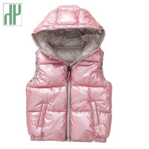 Kids vest Coats shiny gold silver Toddler girl vest baby boy hooded jacket winter autumn waistcoats jacket for girls Outerwear 3