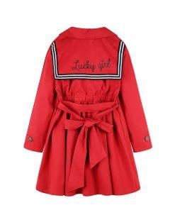 balabala 2018 New Retro Long Children Autumn Girls Jacket Kids Long Windbreaker Jackets For Girl Classic Sweet Children Coats 1