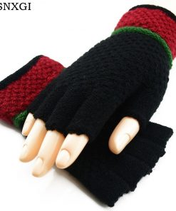 VISNXGI Black Knitted Stretch Half Finger Fingerless Gloves For Winter Unisex Soft Warm Elastic Mittens Accessories Red Glove