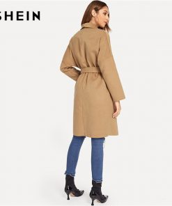 SHEIN Camel Office Lady Elegant Knee Length Draped Pocket Front Waterfall Coat 2018 Autumn Workwear Women Coats Outerwear 1