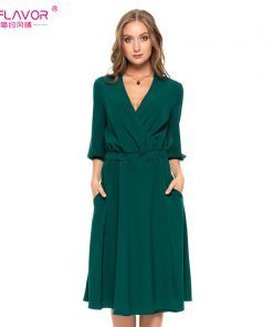 S.FLAVOR Women Solid Color V-neck A-line Dress New Fashion Autumn Winter Lantern Sleeve Waist Vestidos female Elegant Sexy Dress