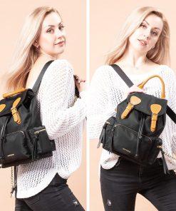 Realer women backpack Large capacity school bag multifunction travel bag waterproof shoulder bag ladies Oxford Cow leather bag 1