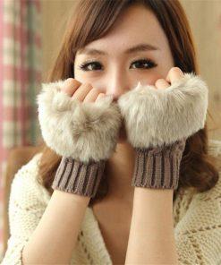 Fashion Guantes Patchwork Gloves Women Wool Gloves Faux Rabbit Fur Knitted Glove Cute Woman Half Finger Mittens Plaid Luvas G015 1