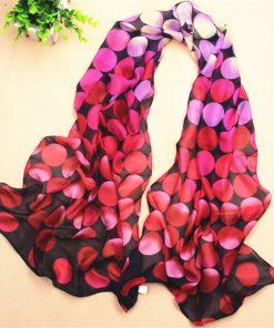 Newly Summer Scarves Women Chiffon Big Beach Scarf Silk Wraps Sunshade Multicolor Dots Woman Gradual Color Georgette Female J047 1