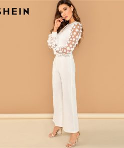 SHEIN White Elegant 3D Applique Sheer Sleeve Keyhole Front Jumpsuit Women Autumn Zipper Button Wide Leg Maxi Culottes Jumpsuits 1