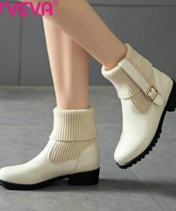 ESVEVA 2019 Woman Boots Thin High Heels Shoes Western Style Cow Leather Pointed Toe Solid Shoes Winter Women Ankle Boots 34-43