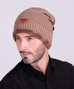 VISNXGI 2018 Brand Knit Men's Winter Hat Caps Skullies Bonnet Winter Hats For Men Women Beanie Fur Warm Baggy Wool Knitted Hat 1