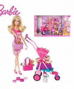 Barbie Original Brand Girl And Pet Dog Shopping Barbie Dolls Set For Little Girl Christmas Day's Gift Boneca BCF82