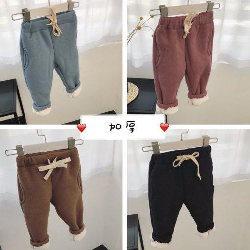 Toddler Boys trousers Thick winter velvet baby pants girl leggings children elastic waist girls warm leggings thickening pants 1