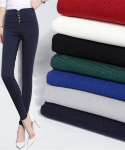 VISNXGI Button Leggings Skinny Leggins Women Pencil Trousers Plus Size High Waist Legging Slim Ladies Pantalones Female Clothes