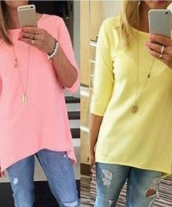 2015 Hot Fashion Women Casual  Loose Long Sleeve T-Shirt Autumn Cotton Solid Slim T Shirt  Plus Size Candy Colors T Shirts A110 1