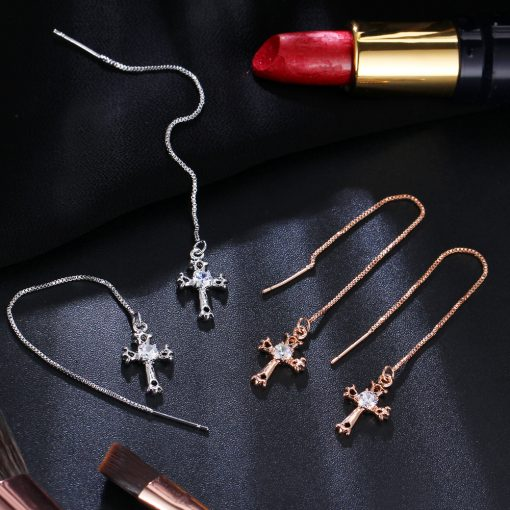 17KM Fashion Cubic Zirconia Cross Lock Drop Earrings For Women Rose Gold Color Long Tassel Dangle Earring Party Wedding Jewelry 5