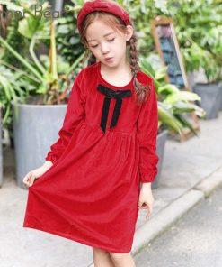 Humor Bear Children Clothes 2018 Kids Dress Spring and Autumn Girls Dress Kids Bowknot Print Fashion Brand Princess Dress