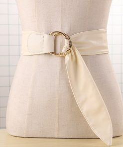 Newest design belt soft leather wide belts for women waist belt strap gold double big circle buckle lady dress Closure Coat gift 1