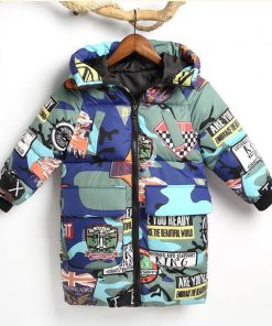 HH Toddler Boy winter jacket coat Hooded Graffiti Camouflage parka girl snowsuit children kids Thick teenage long down jacket  1