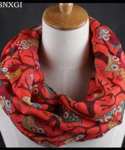 VISNXGI New Fashion Warm Women Flower Loop Scarf Female Owl Print Ring Scarves Winter Shawl Wrap Warmer Face Mask Beanie Hats