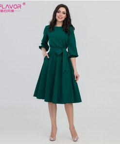 S.FLAVOR 2018 Women Fashion vintage Dress Green O-Neck Elegant A line dress puff sleeve vestidos Party autumn dress no pocket 1