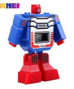 SKMEI Kids LED Digital Children Watch Cartoon Sports Watches Relogio Robot Transformation Toys Boys Wristwatches 1095 1