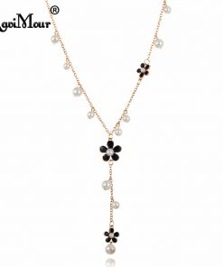 RAVIMOUR Flower Long Necklace for Women Fashion Simulated Pearl Jewelry Tassel Perlas Necklaces & Pendants Bijoux Femme Perle 1