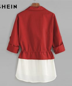 SHEIN Burgundy Roll Sleeve Drawstring Jacket With Contrast Trim Elegant Cotton Colorblock Outerwear Women Autumn Coat  1