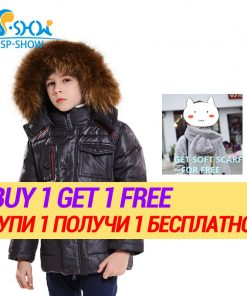 BUY 1 COAT GET 1 FREE SCARF -30 degrees SP-SHOW Winter 90% White down coats winter jackets Kids boys nature fur hat jacket snow 1