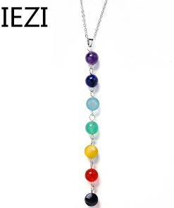 7 Chakra Gem Stone Beads Pendant Necklace Women Yoga Reiki Healing Balancing Maxi Chakra Necklaces Bijoux Femme Jewelry 2018 New