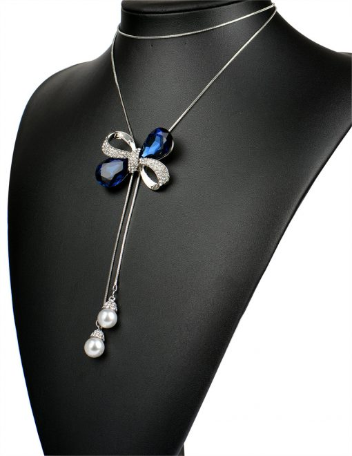 RAVIMOUR Blue Crystal Bowknot Long Necklaces & Pendants Imitation Pearl Jewelry Maxi Chokers Silver Color Chain Collar New 2017 1