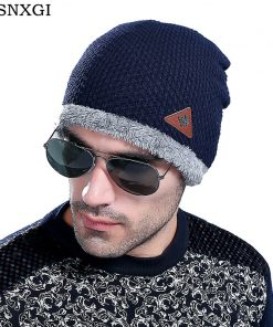 VISNXGI 2018 Fashion Bonnet Gorros Caps For Men Women Thick Winter Beanie Men Knitted Hat Warm Skullies & Beanies With Velvet