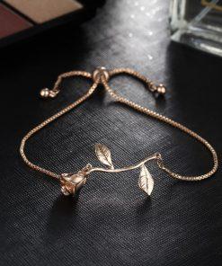17KM Fashion Rose Flower Charm Bracelet For Women Girl Bracelet & Bangle Adjustable Pulseras Mujer Wedding Bridal Jewelry Gift  1