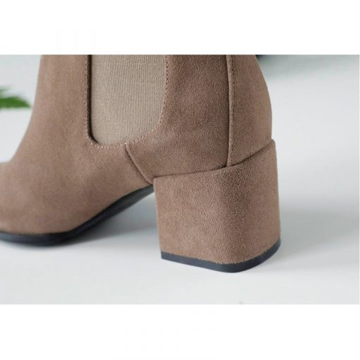 ESVEVA 2019 Ankle Boots for Women Shoes Round Toe Square High Heels Synthetic Woman Boots Shoes Autumn Ladies Boots Size 34-39 3