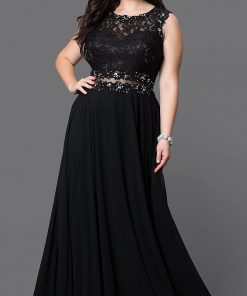 Plus Size Prom Dresses 2018 Sexy Illusion Waist Backless vestido de festa Women Solid Color Chiffon Lace Prom Long Elegant Dress 1